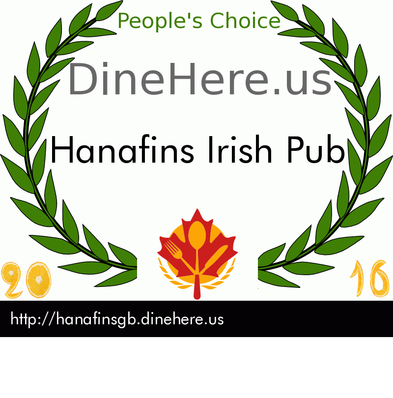 Hanafins Irish Pub DineHere.us 2016 Award Winner