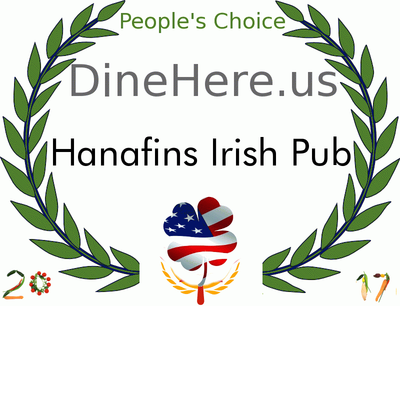 Hanafins Irish Pub DineHere.us 2017 Award Winner